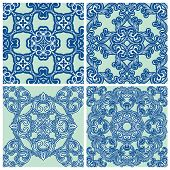 Set of squared backgrounds - ornamental seamless pattern. Design for bandanna carpet shawl pillow or cushion. Ready to use as swatch. poster