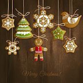 Merry christmas holiday decoration background with ginger man snowflakes and tree cookies vector illustration poster