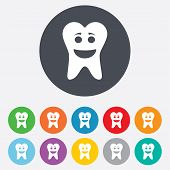 Tooth happy face sign icon. Dental care symbol. Healthy teeth. Round colourful 11 buttons. Vector poster