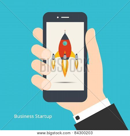 Vector illustration of new business project startup development or launching new product or service for yor design poster