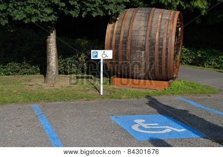 Parking For Handicapped With Barrel