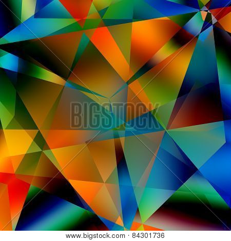 Abstract colorful triangular pattern. Modern geometric mosaic background. Black blue yellow colors.