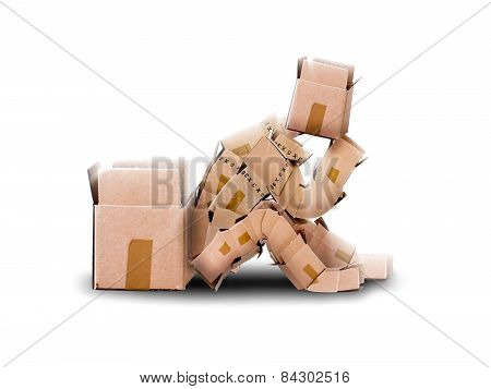 Think outside the box concept with box character sitting next to an empty container