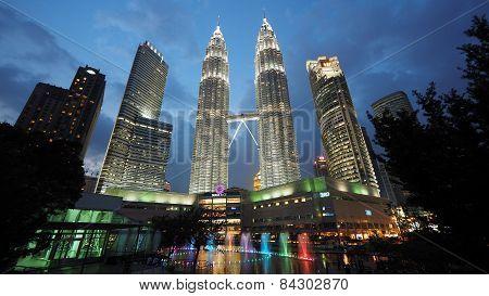 The Iconic Petronas Twin Towers In Kuala Lumpur, Malaysia