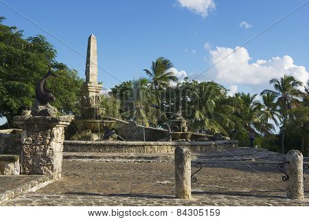 Exterior of the fountain in Altos de Chavon village in La Romana, Dominican Rep