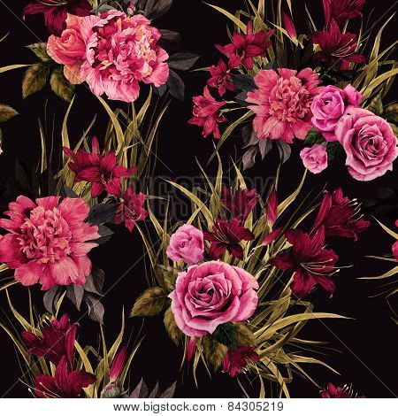 Seamless Floral Pattern With Roses Peonies And Lilies On Dark Background