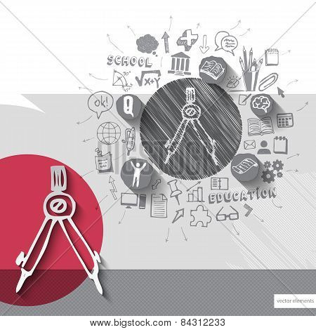 Paper and hand drawn compasses emblem with icons background