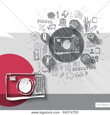 Paper and hand drawn photo camera emblem with icons background