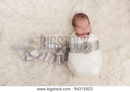 Baby Girl Wrapped In A Silk Ribbon