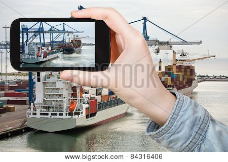 Tourist Taking Photo Of Copenhagen Cargo Seaport