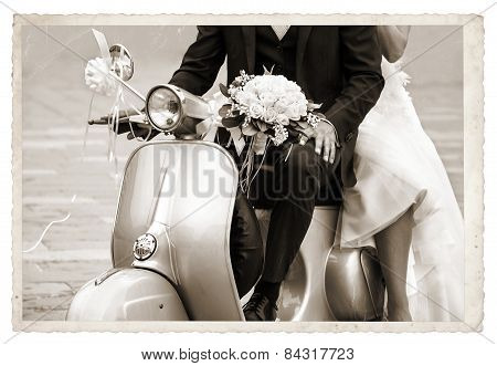 Vintage Photo With Newlywed