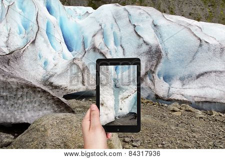 Taking Photo Of Spring In Briksdal Glacier Norway