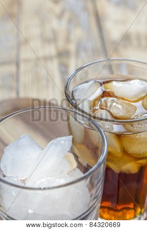Glass With Ice Cubes And Cola