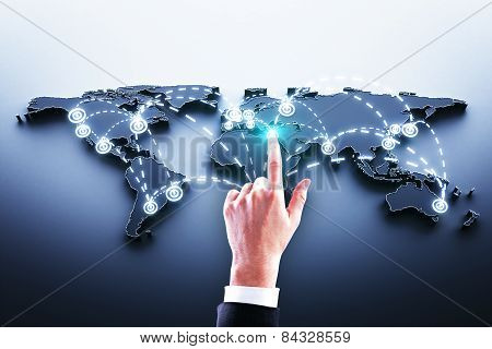 Hand Pushing World Map