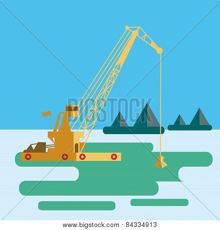 Flat Huge Crane Barge Industrial Ship That Digs Sand Marine Dredging Digging Sea Bottom. Vector