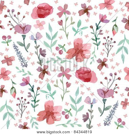 Seamless Flowers And Leaves Pattern
