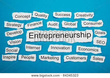 Word Entrepreneurship On Piece Of Torn Paper