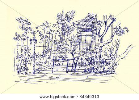 Terrace Garden Illustration