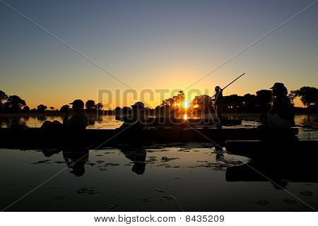 Sunset Boat Ride Silhouette