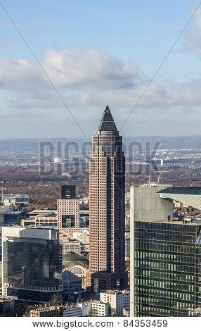 Messeturm in Frankfurt Germany under blue sky poster