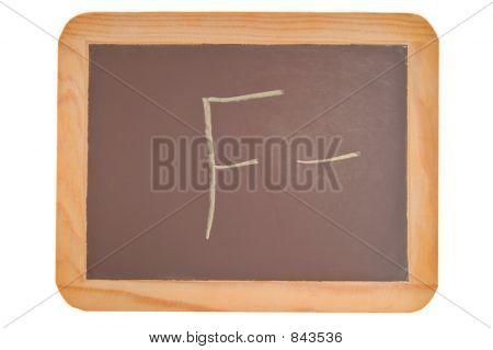 Chalkboard with an F minus written on it