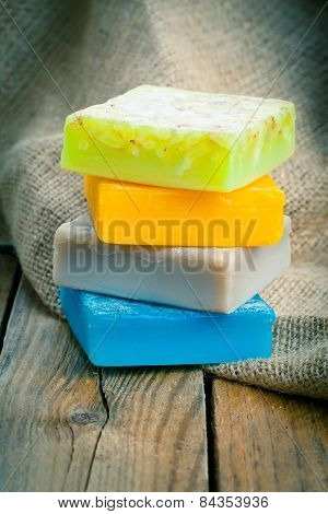 Colorful Handmade Soap Bars, On Wooden Background