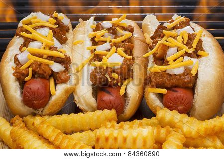 Chili Dogs with Cheese, onions and French Fries