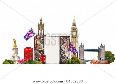 London. Collage Famous buildings of London, Travel and business background