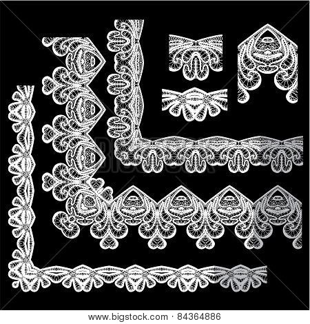 Frame Elements Set - Different Lace Edges And Borders - Seamless Stripes - Floral Lace Ornament - Wh