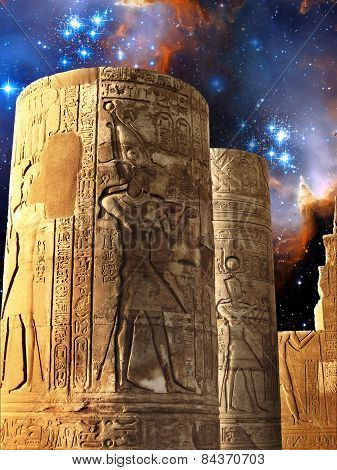 Columns Of The Kom-ombo Temple And Small Magellanic Cloud (elements Of This Image Furnished By Nasa)