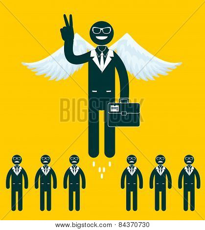 Businessmen flying with a wings.
