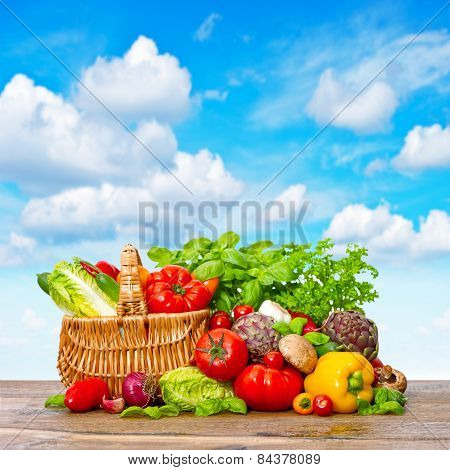 Fresh Vegetables And Herbs. Shopping Basket With Food Ingredients