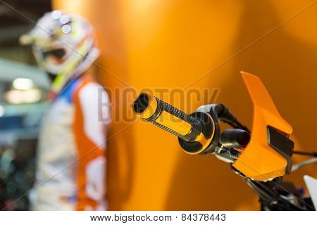 Steering Wheel Of Motocross Motorcycle Throttle Control Lever Close Up