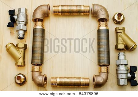 tools plumbing on a light woody background poster