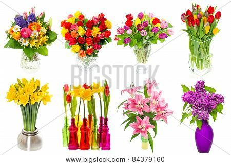 Bouquet Of Colorful Flowers. Tulips, Roses, Lilac, Narcissus, Lily