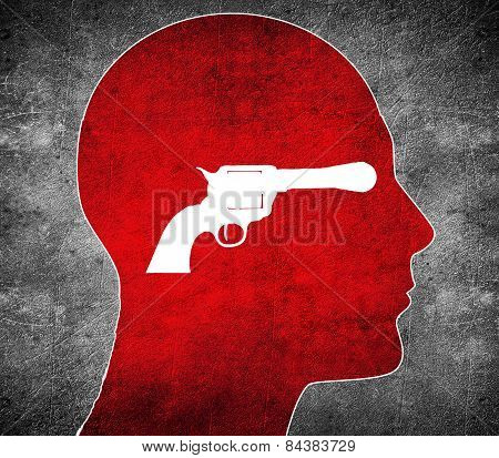 Red Silhouette Head With White  Gun