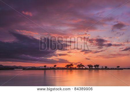 A beautiful sun rise over the zambezi river