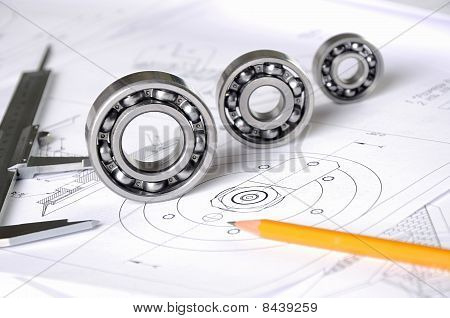 Drawings of the engineer of mechanical engineering. poster