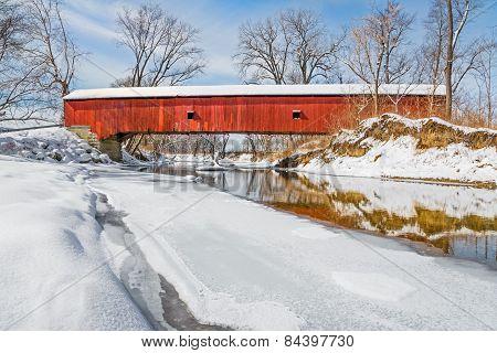 Snowy Oakalla Covered Bridge