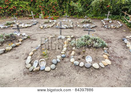 Cemetery Of Carmel Mission  With Graves Of Indians Decorated With Shells