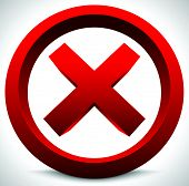 Red x button. X shape letter sign. Ban quit exit deny forbid restriction vector poster