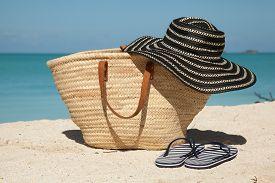Wicker Bag Hat And Flip Flops