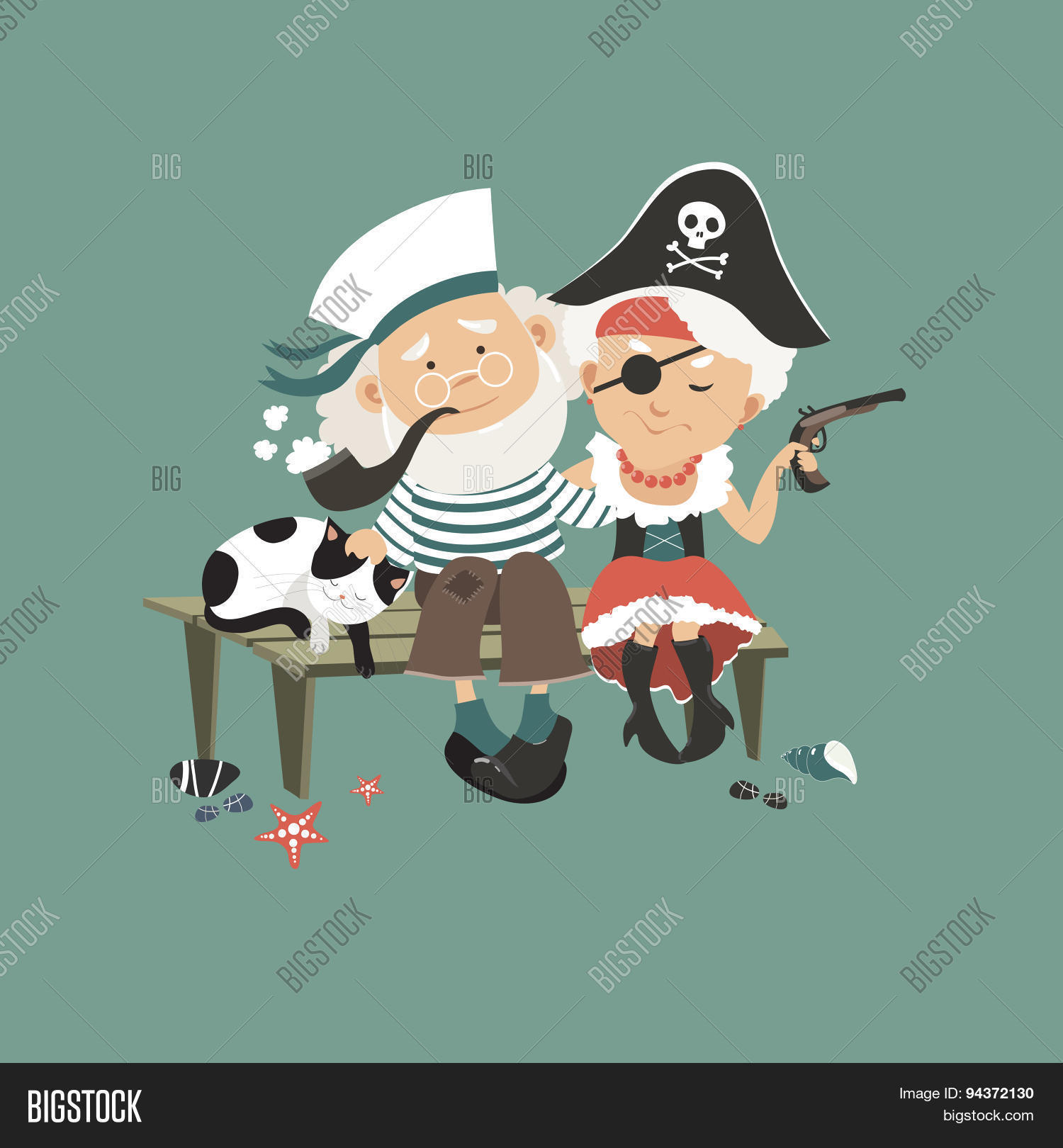 8661641b9d306 Old sailor sitting on bench with his beloved pirate. Vector illustration
