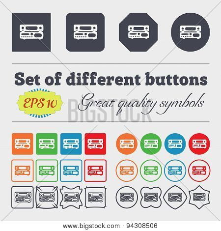 Radio, Receiver, Amplifier Icon Sign. Big Set Of Colorful, Diverse, High-quality Buttons. Vector