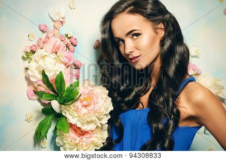 Portrait of young woman with beautiful long hair. Beauty, fashion. Hair, haircare. poster
