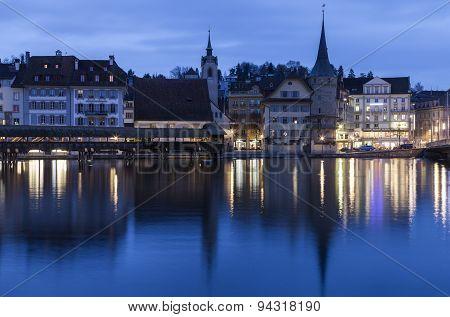 Lucerne Architecture Along Reuss River