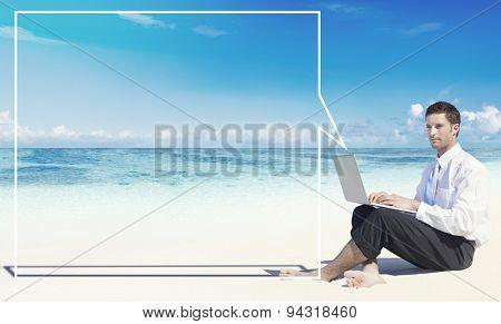 Businessman Working Thinking Summer Beach Concept