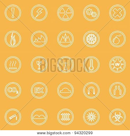 Warning Sign Line Icons On Yellow Background