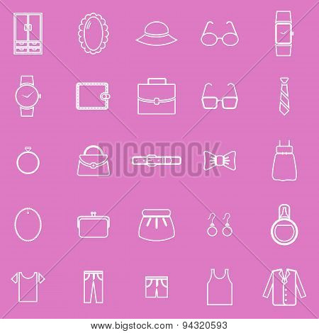 Dressing Line Icons On Pink Background