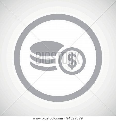 Grey dollar rouleau sign icon